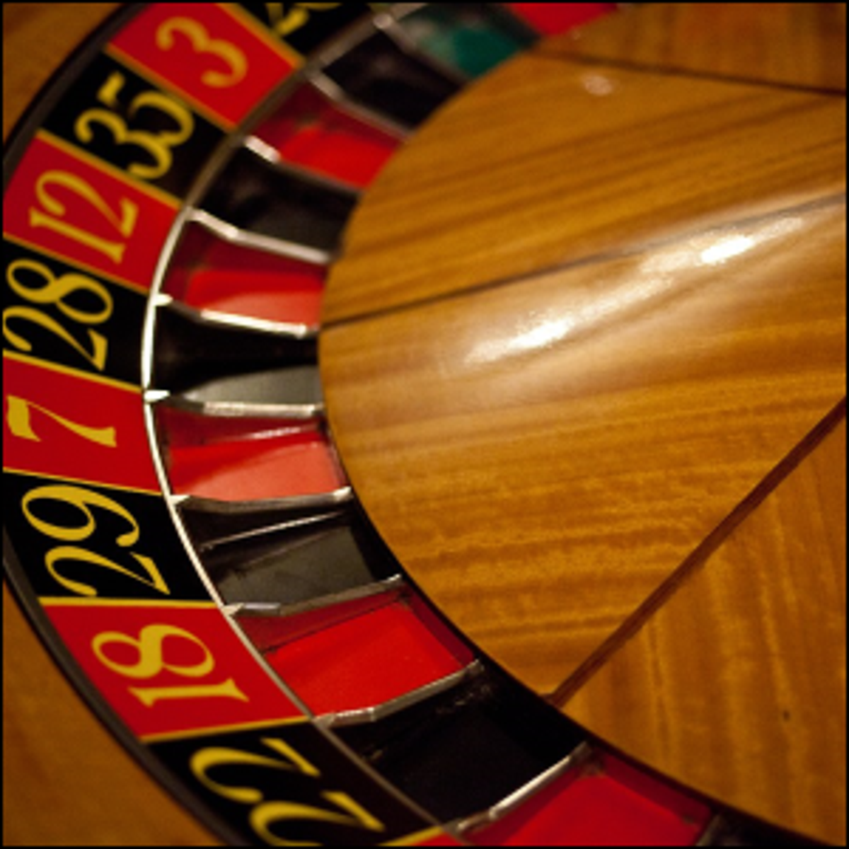 A roulette wheel at rest.