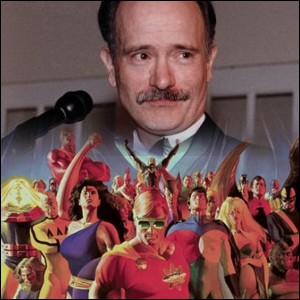 A composite image of Mark Gruenwald and the cover of Squadron Supreme.