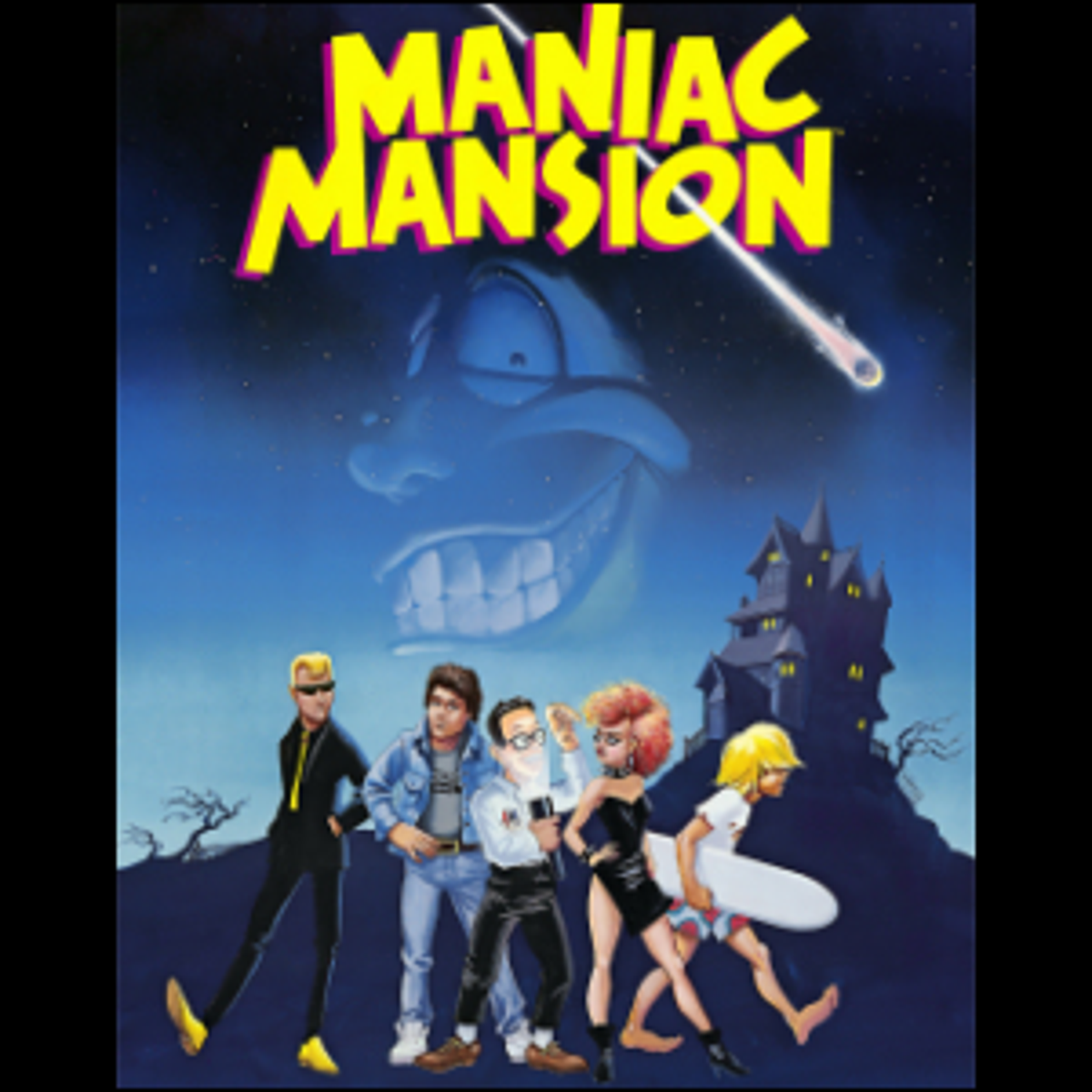 The cover artwork for Maniac Mansion.