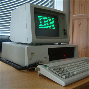 """An IBM PC XT with a double-sided 5.25"""" floppy drive."""