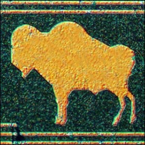 A buffalo etched on a digital filter chip from the HP3582a audio spectrum analyzer.