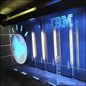 The Watson super computer, behind glass at IBM's headquarters.