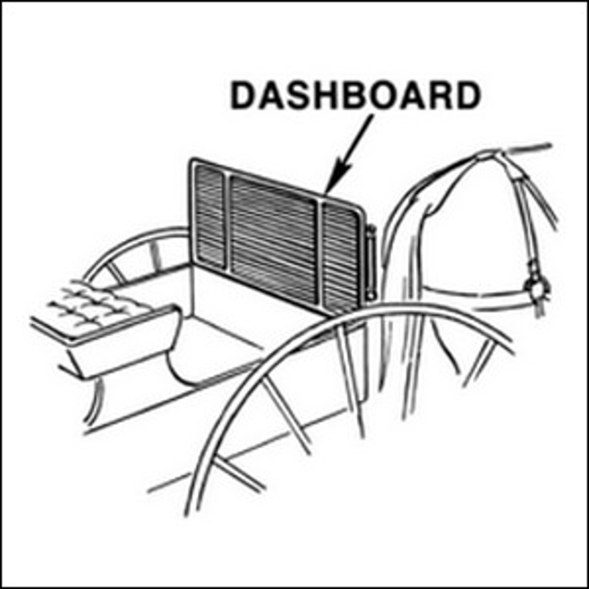A black and white drawing of a carriage's dashboard.
