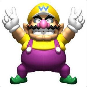Wario posing with a devious grin and his hands raised in a V-for-victory pose.