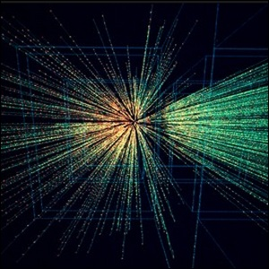 An image of an actual lead ion collision taken from tracking detectors on the NA49 experiment, part of the heavy ion project at CERN.