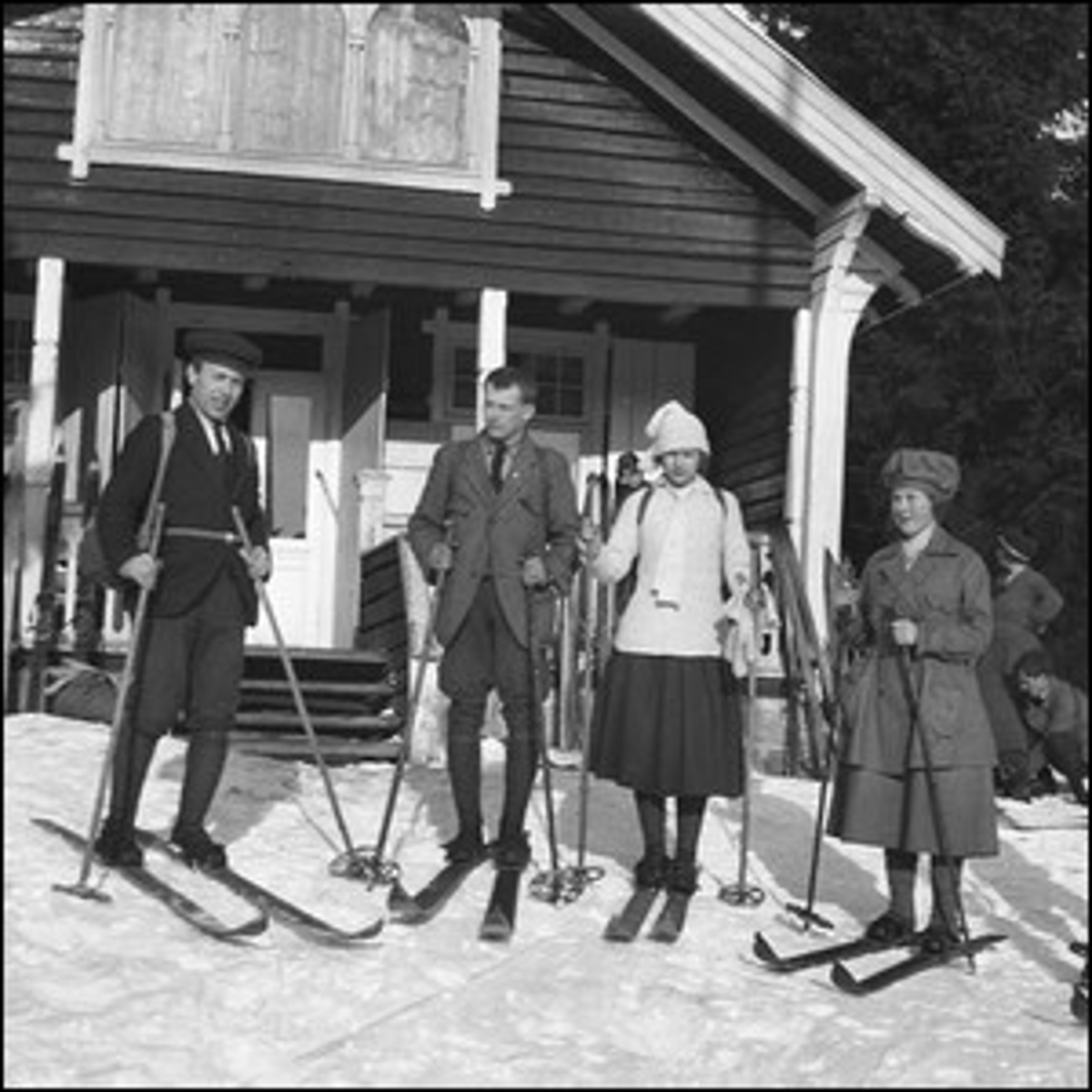 A group of friends preparing to go skiing in 1920s Norway.