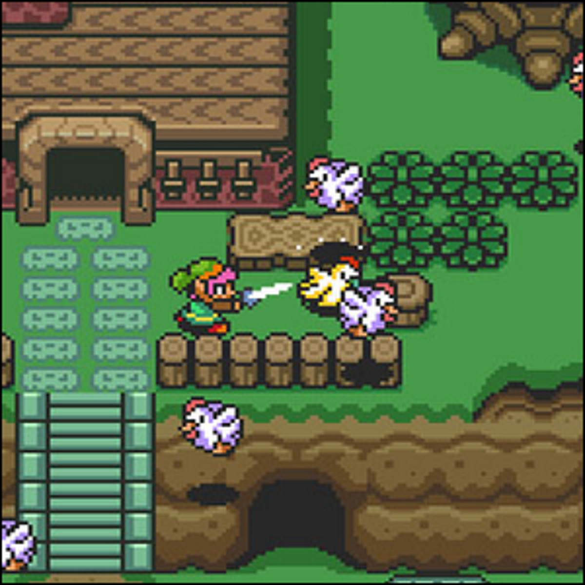 Link attacking a group of chickens (cuccos) in Hyrule.