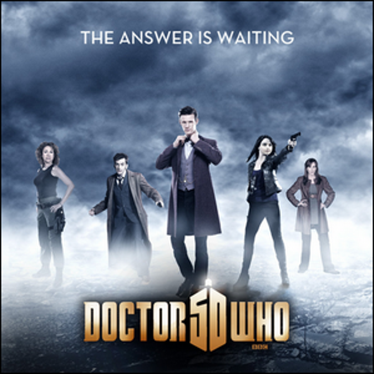 A promotional poster for the 50th anniversary broadcast of Doctor Who.