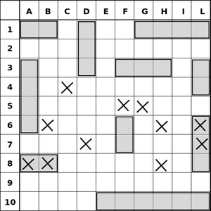 An example of the original paper-based Battleship map.