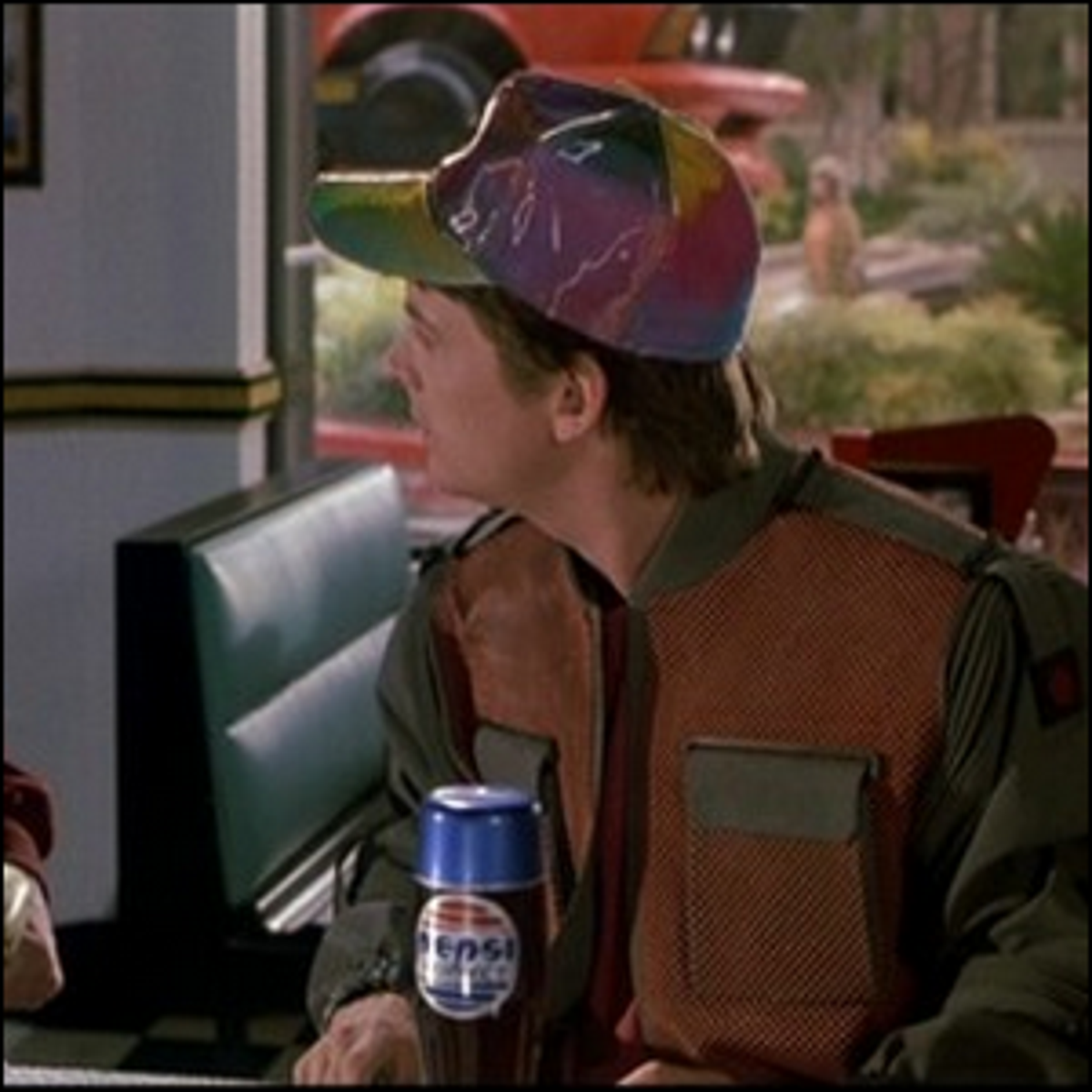 Marty McFly with a Pepsi Perfect in the film Back to the Future Part II.
