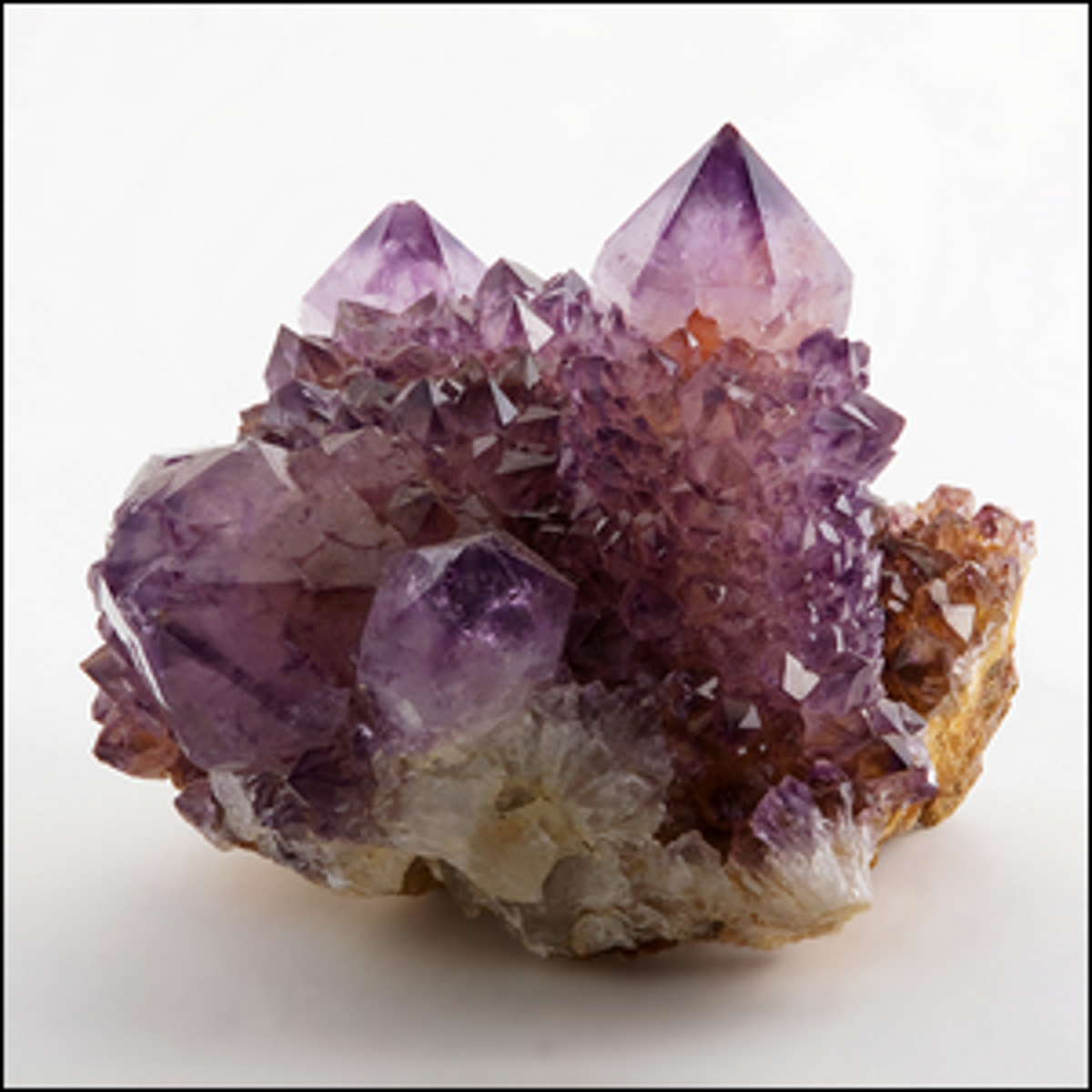 A large sample of amethyst, uncut and in its natural crystalline form.