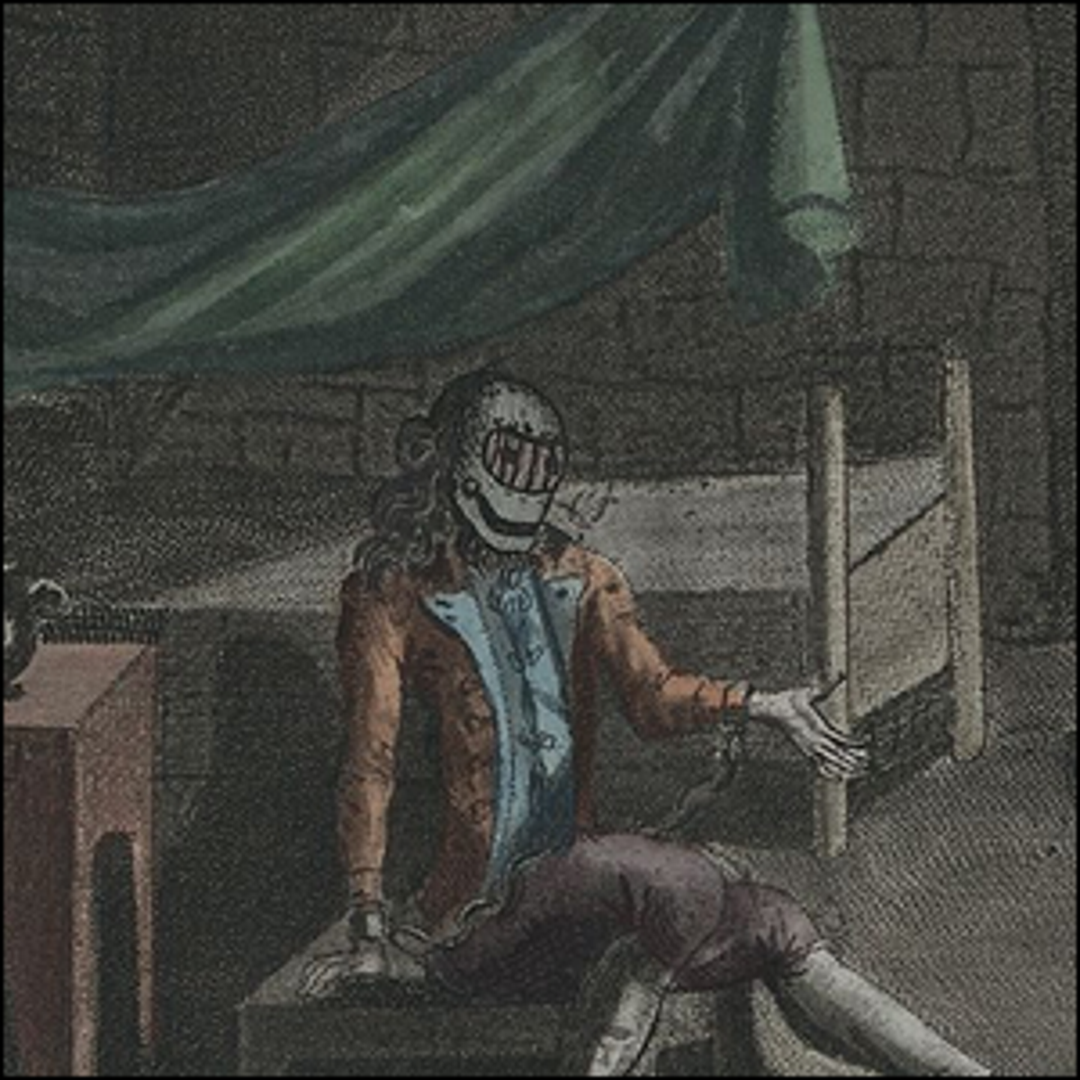 An old lithographic print of The Man in the Iron Mask.