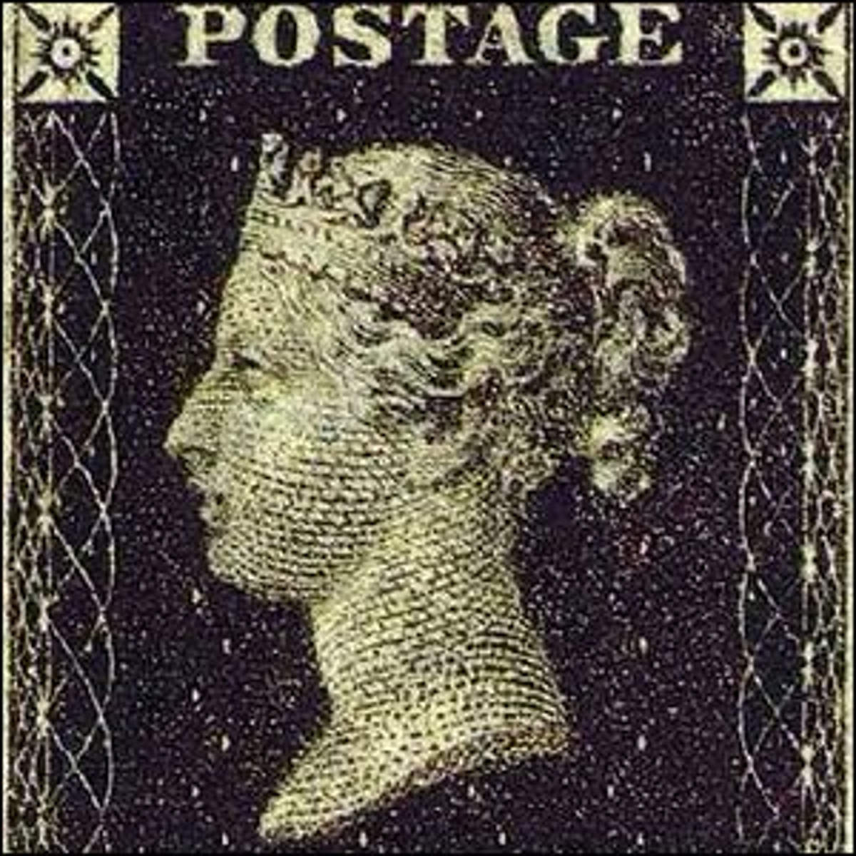 The world's first adhesive postage stamp used in a public postal system, the Penny Black, Great Britain, 1840.