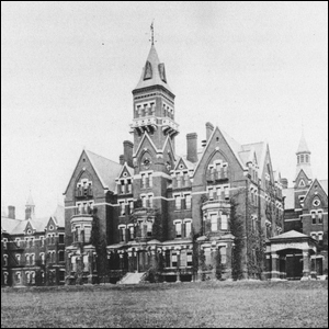 An old photograph of the imposing Victorian style grounds of the Danvers State Hospital.