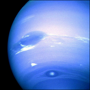 A close-up view of the weather patterns on Neptune.