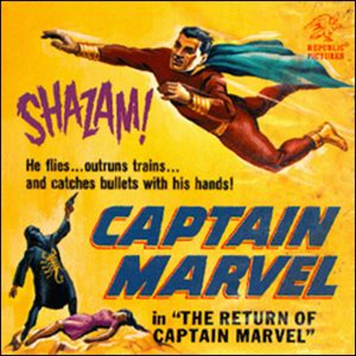 A poster for the movie re-release of the first Captain Marvel chapter serial.