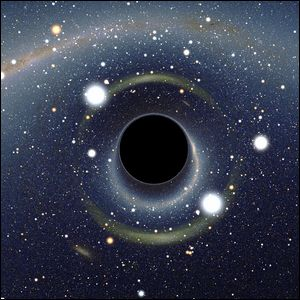 A computer rendering of a black hole stretching time and space.