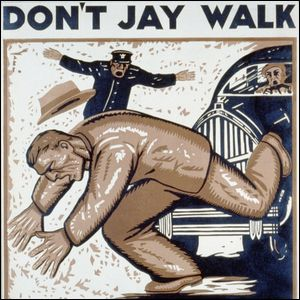 A 1937 color woodcut poster encouraging people not to jaywalk.