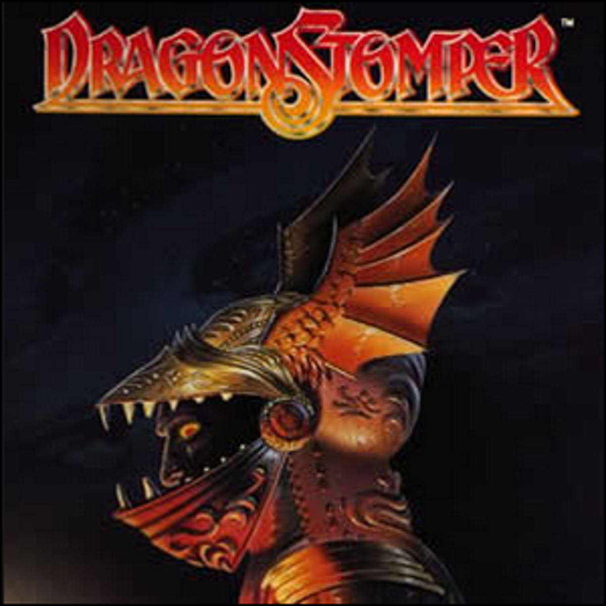 The cover of Dragonstomper with artwork depicting a man in dragon-themed armor.