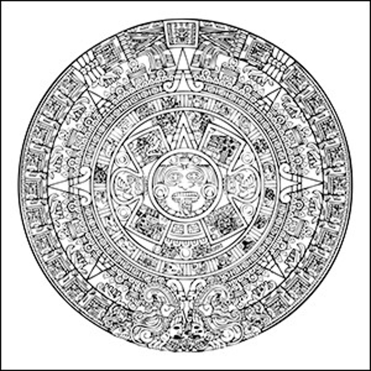 A line art drawing of the Aztec sun calendar.
