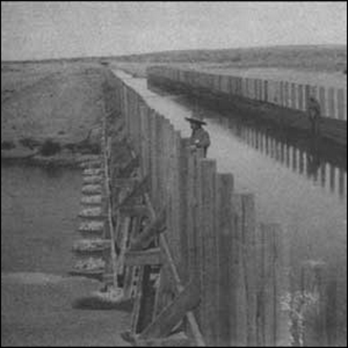 The Pecos River flume diverting irrigation water over the Pecos River in 1903.