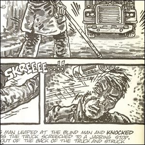 A comic panel showing Matt Murdock and the event that led to the creation of the Teenage Mutant Ninja Turtles.