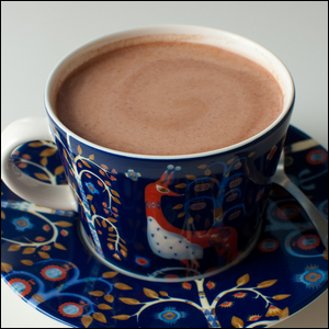 A cup of cold chocolate milk.