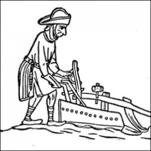 A wood-cut carving depicting a medieval farmer plowing a field.