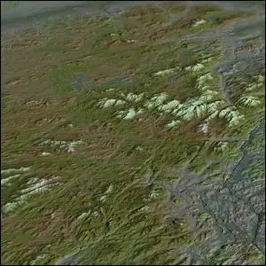 A computer generated aerial view of Adirondack Park.