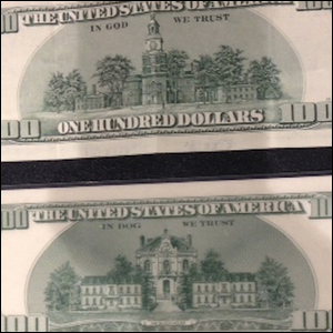 An example of real money compared to the fake money from Rush Hour 2.