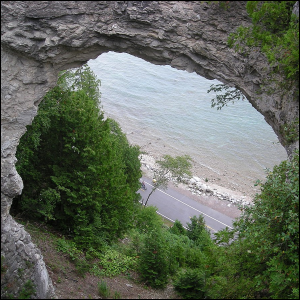 A view of M-185 from Arch Rock on Mackinac Island.