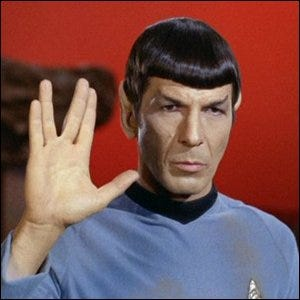 Spock, as portrayed by Leonard Nimoy, performing the Vulcan Salute.