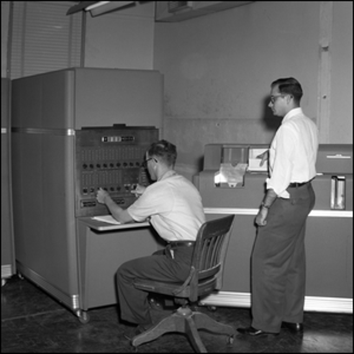 The IBM 650 computer at Texas A&M University, College Station, Texas during the 1950s.
