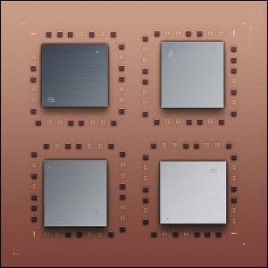 An illustration of four IBM POWER4 microprocessors mounted on a quad chip module (QCM).