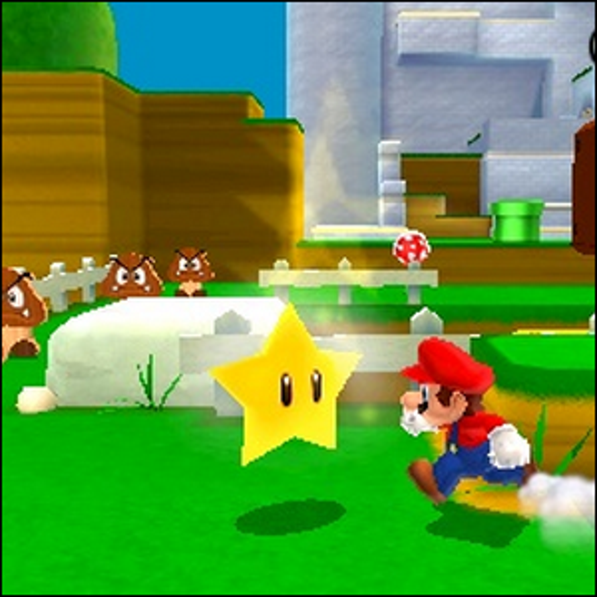Mario running to get an Invincibility Star.