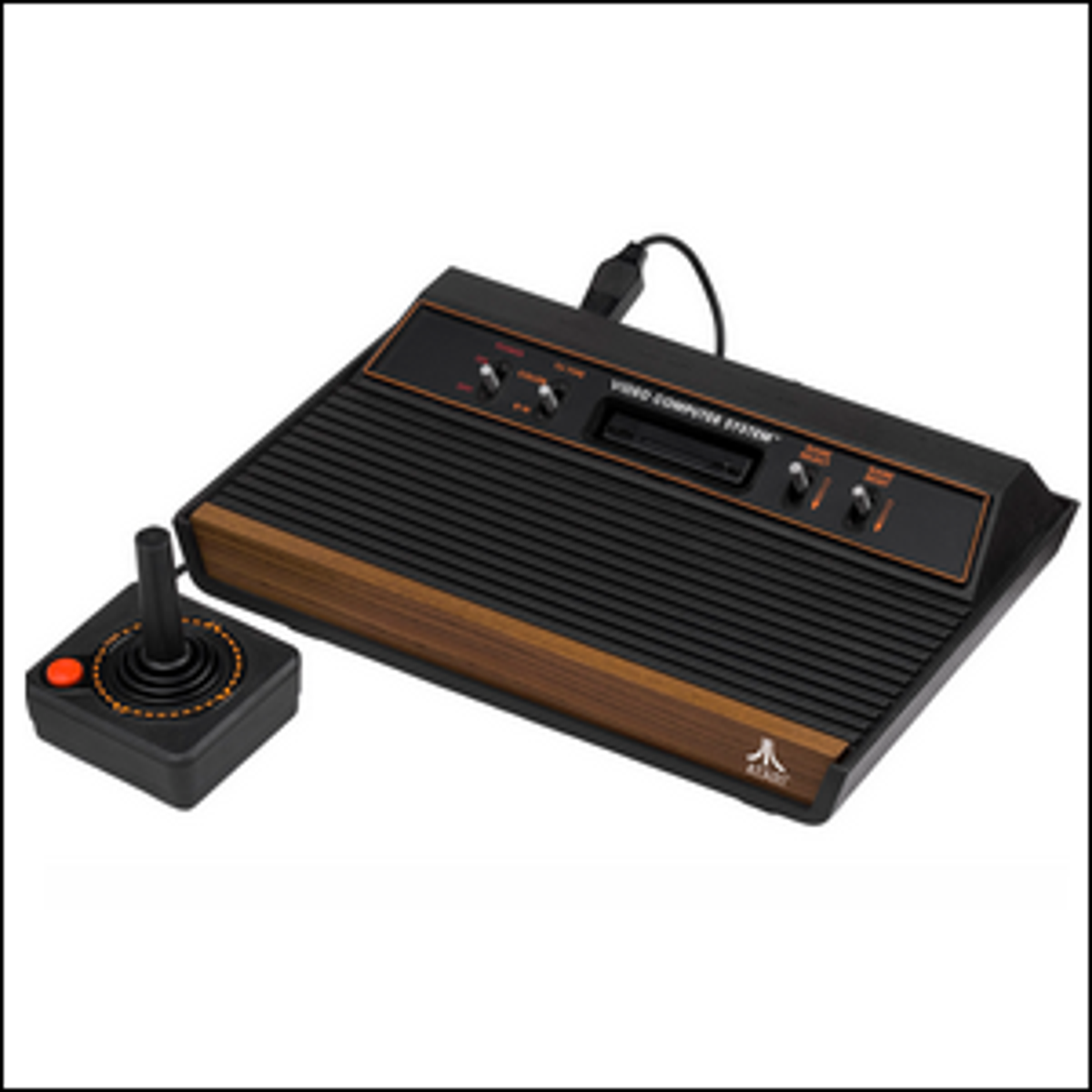 A 1980-1982 Atari 2600 four-switch console with a wood veneer and a standard joystick.