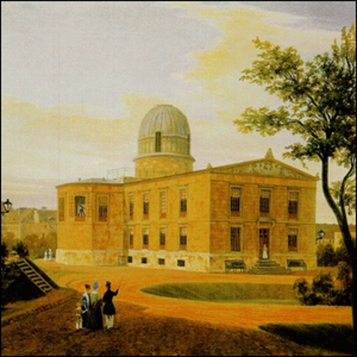 An 1838 painting of the New Berlin Observatory at Linden Street.