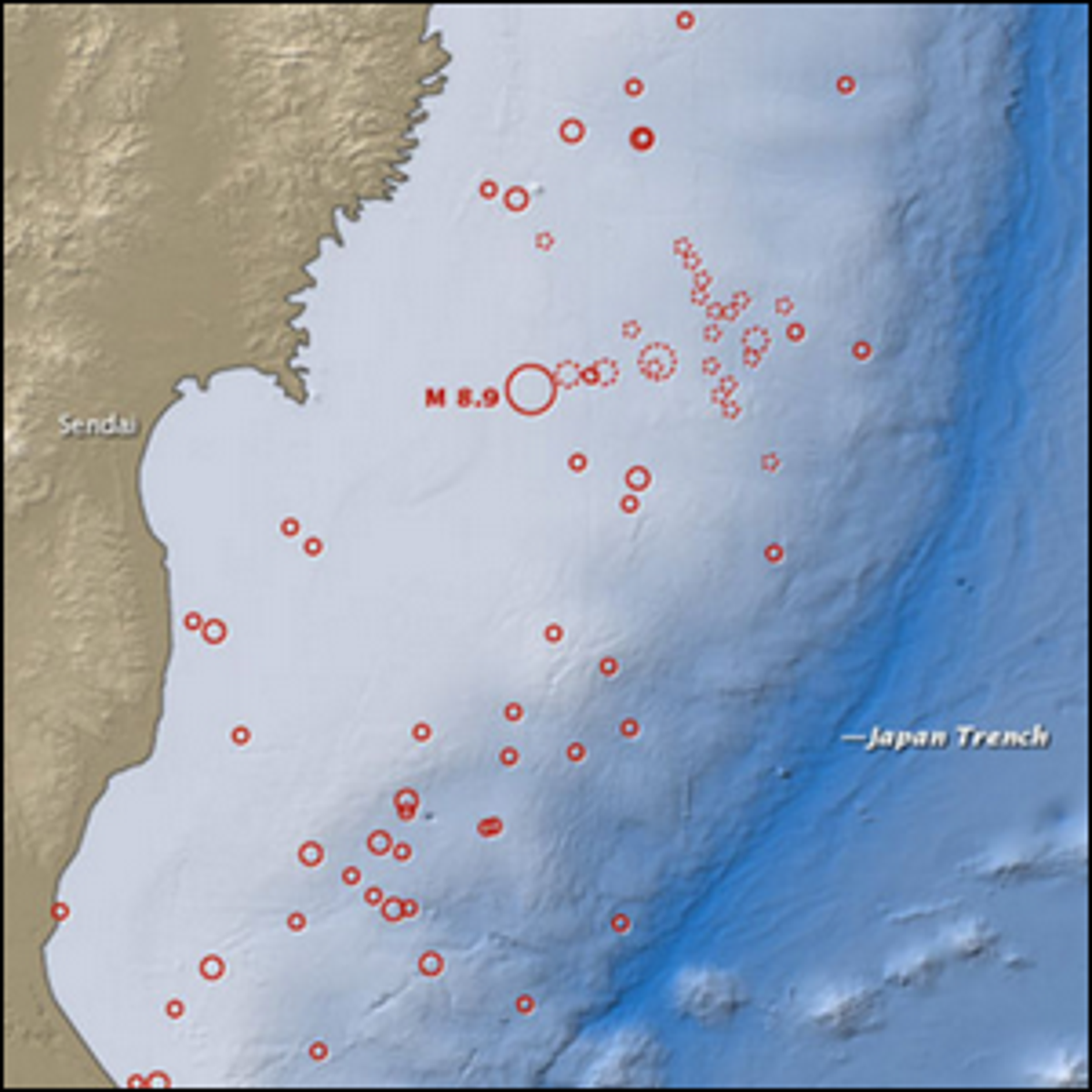 A map showing the location of the March 11, 2011 earthquake in Japan, as well as the foreshocks.