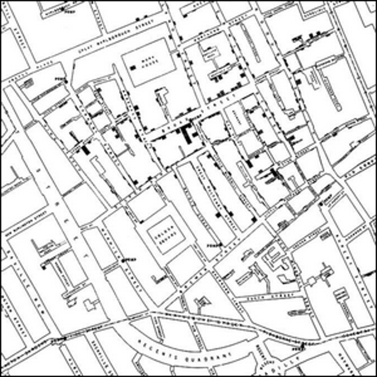 The map made by John Snow showing the cholera cases in the London epidemic of 1854.