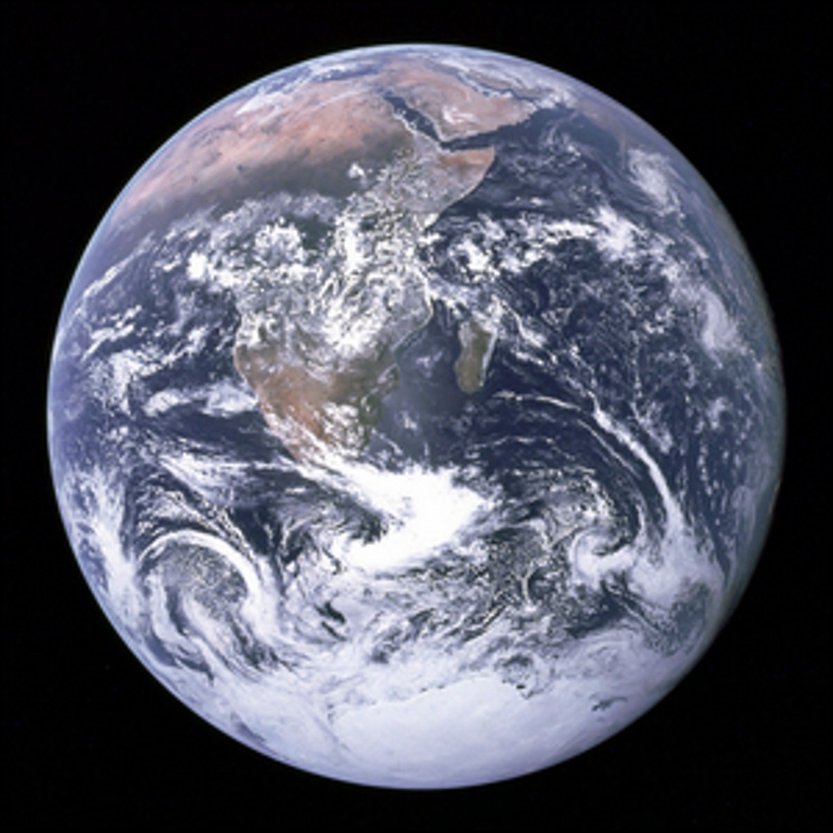 The Earth, as seen from the Apollo 17 spacecraft en route to the Moon.