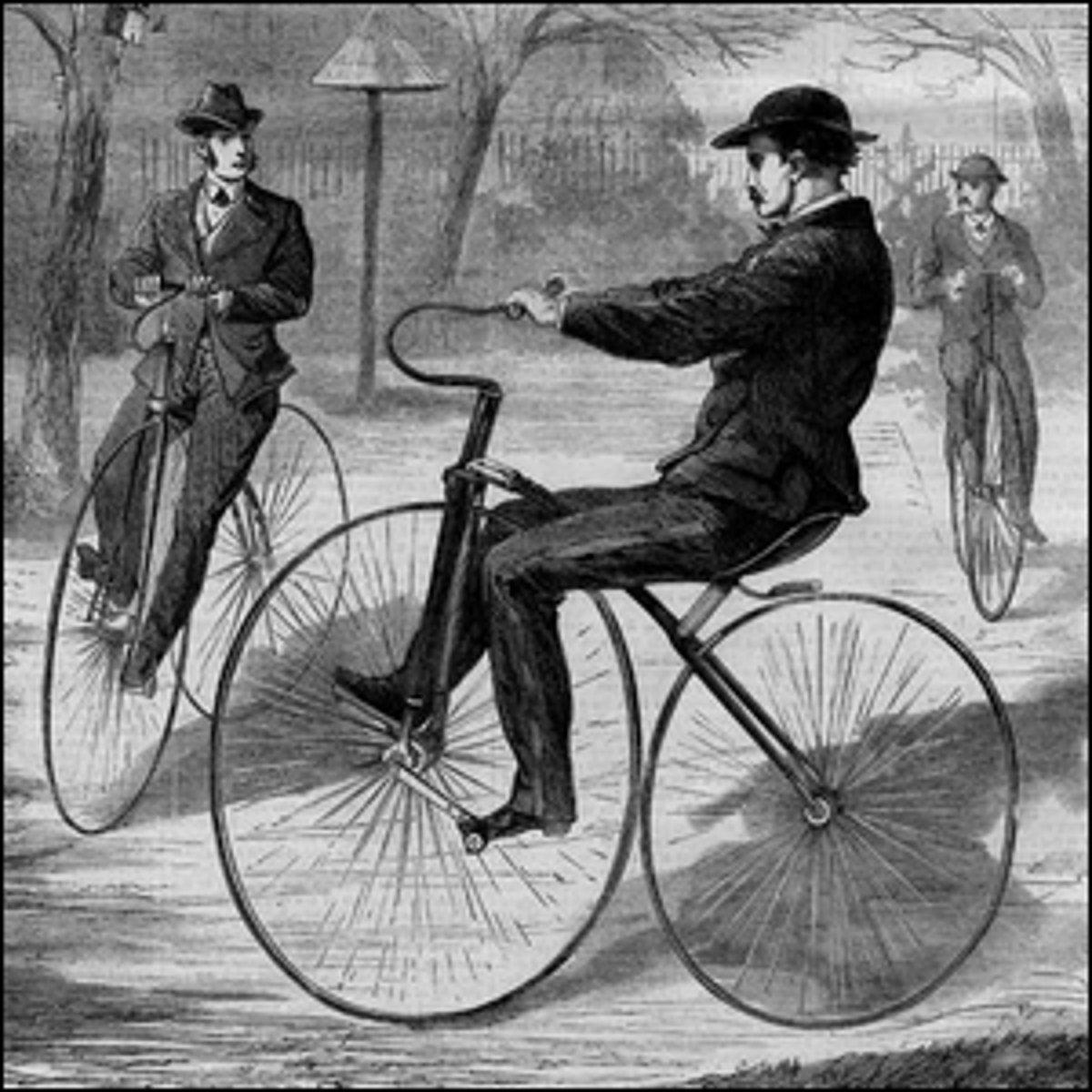 An 1868 wood engraving of an American velocipede.