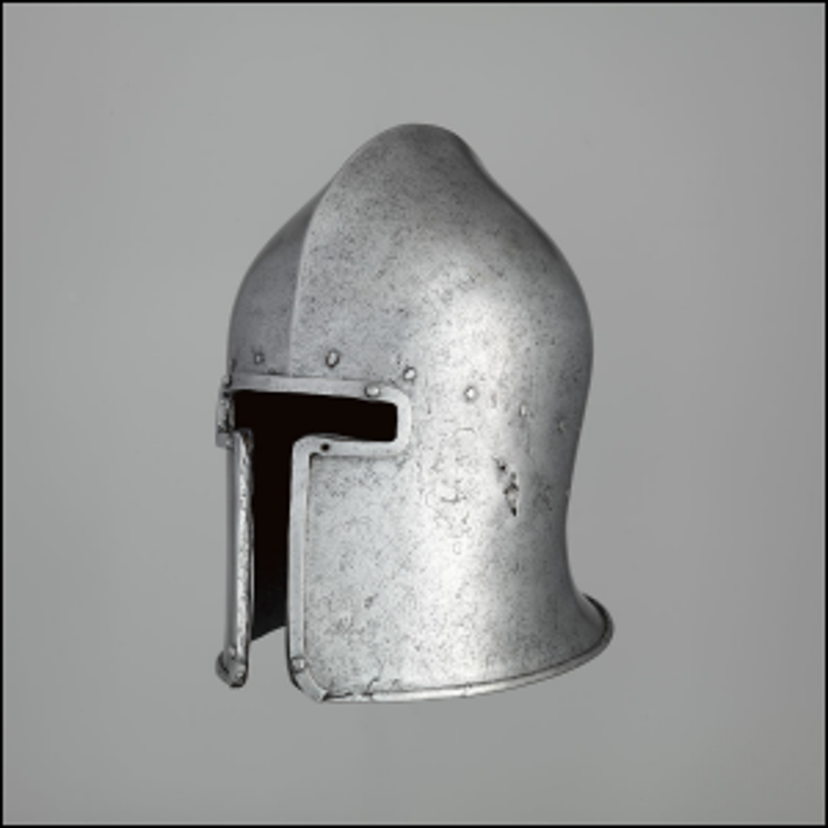 A 15th century T-shaped style Italian barbute.