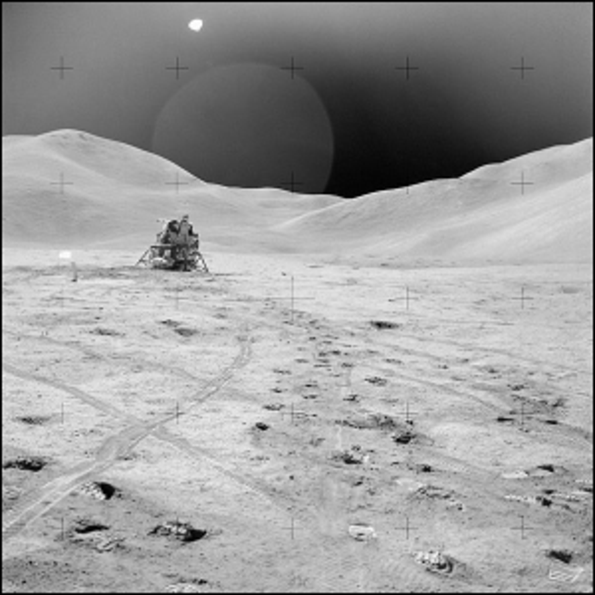 A photo of the lunar surface during the Apollo 15 mission.