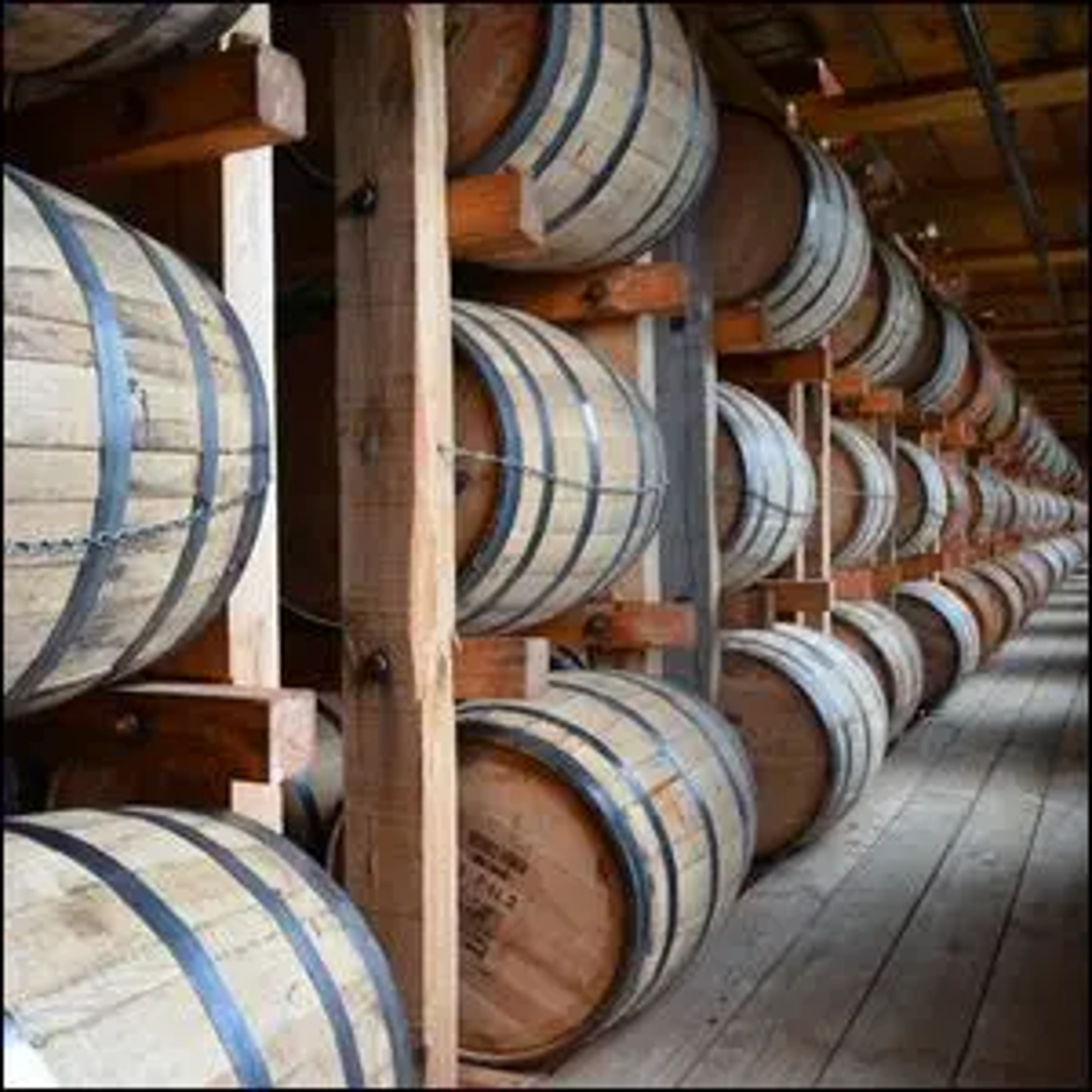 A rack house for maturing Jim Beam bourbon whiskey located in Clermont, Kentucky.