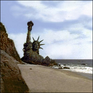 The partially buried Statue of Liberty seen at the end of 1968's Planet of the Apes movie.