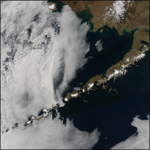 A 2014 satellite image of the Aleutian Islands.