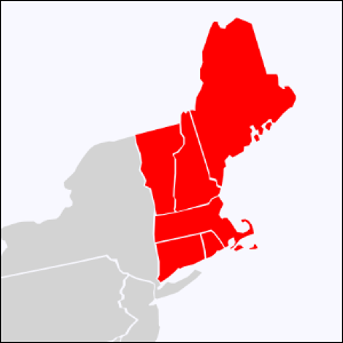 A map highlighting the six states of New England.