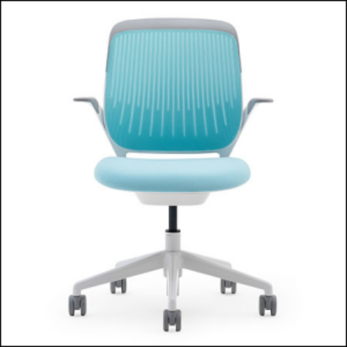 Photo of a modern day swivel office chair.
