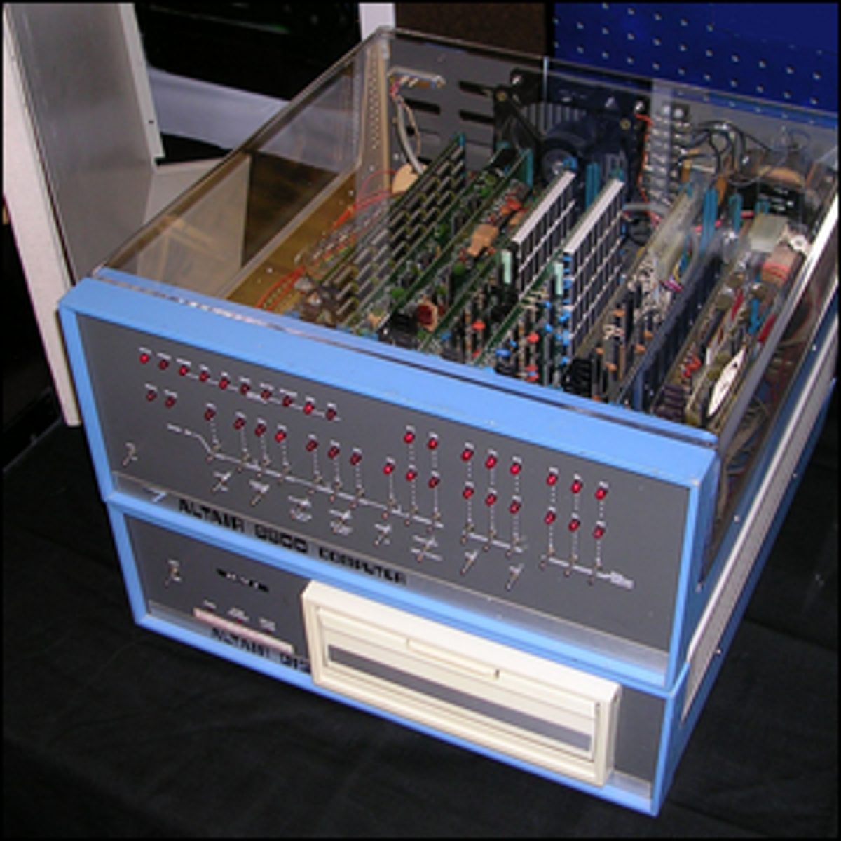 An Altair 8800 computer with an 8 inch floppy disk system.