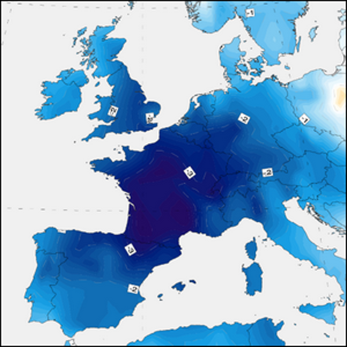 A graphic of Western Europe showing the 1816 summer temperature anomaly.